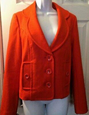 Women's Anthropologie TULLE Brand Orange Coat Jacket Mod Wool Blends Lined Sz M