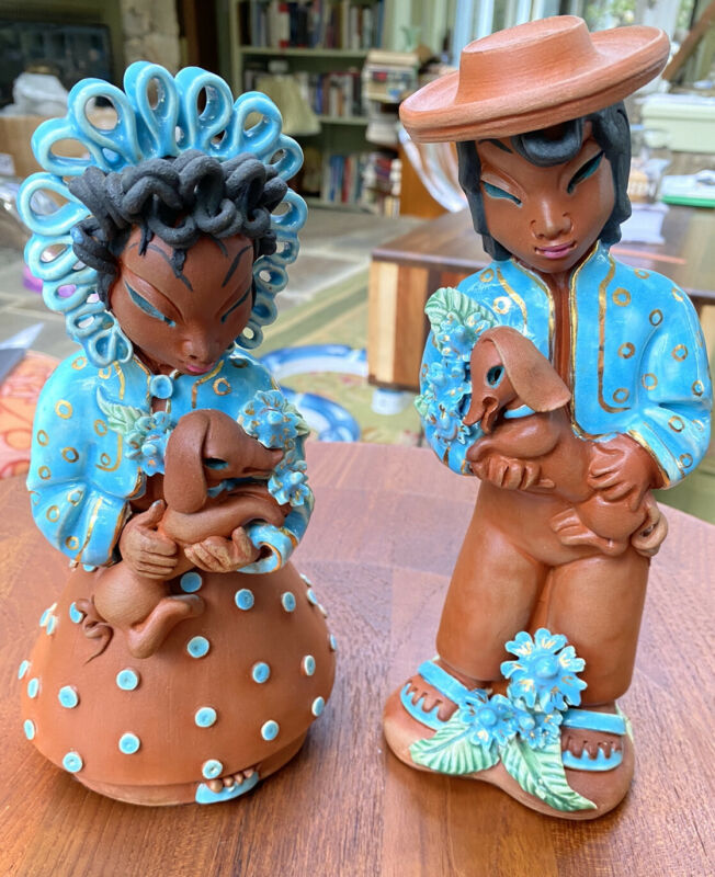 Copa de oro Mary Jane Hart Ceramic Girl And boy With Puppies. MCM