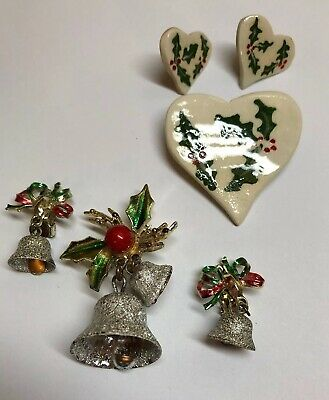 2 Sets of Christmas Jewelry Pins & Earrings. Porcelain Holly & Enamel Bells