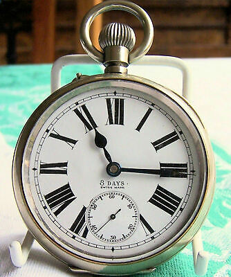 ANTIQUE C1890 GENUINE OMEGA MASSIVE GOLIATH 7CMS WIDTH SWISS POCKET WATCH