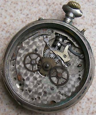 Triple Date Pocket Watch Silver Carved Case 51 mm. in diameter to restore