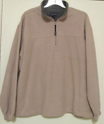 Mens Beige with Green Collar Saddlebred Pullover Fleece Sweater Jacket Size XXL.
