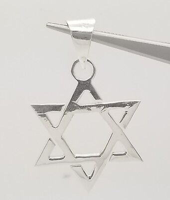 Solid Sterling Silver Star of David Pendant