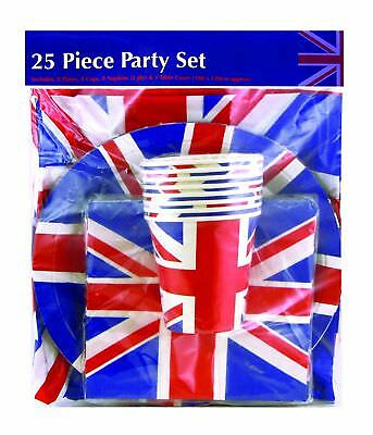 Union Jack Party Tableware Set Plates Napkins Cups Table cover Royal Wedding