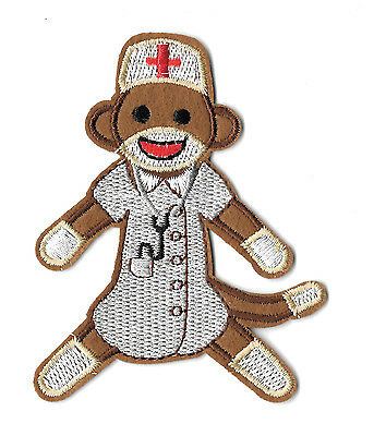 - Nurse - Sock Monkey - Medical - Hospital - Embroidered Iron On Applique Patch