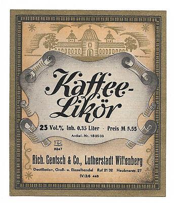RICHARD GENTSCH & Co., Lutherstadt Wittenberg, KAFFEE-LIKÖR 0,35 L (Golddruck)