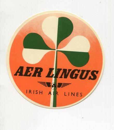 Vintage Airline Luggage Label AER LINGUS  Irish Airlines shamrock