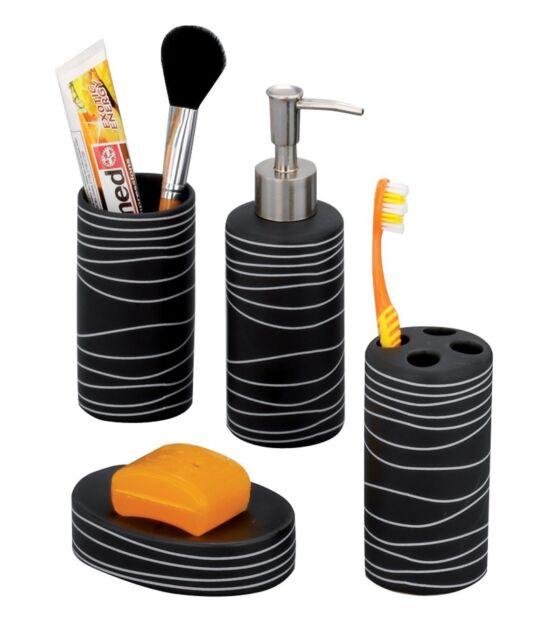 Zeller Ba Accessories-Set 4 Teilig Keramik Schwarz Dekor Zubehör Badezimmer NEU