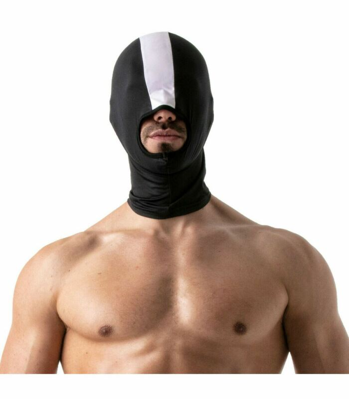 FETISH TOF PARIS Naughty Open Mouth Lycra Hood Cagoule Stretchy One Size White