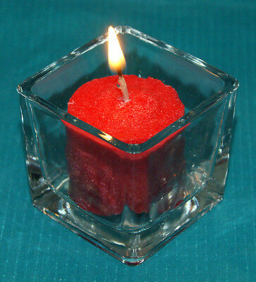 """1-Votive/T-lite Candle Holder~Clear-Square Glass~Cool Lit~2"""" Square x 1-7/8""""Tall"""