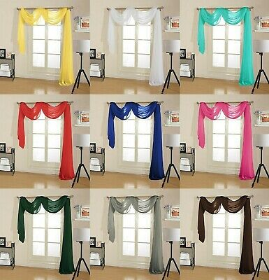 1-Pc Sheer Voile Window Scarf Curtain Drape Valance 38