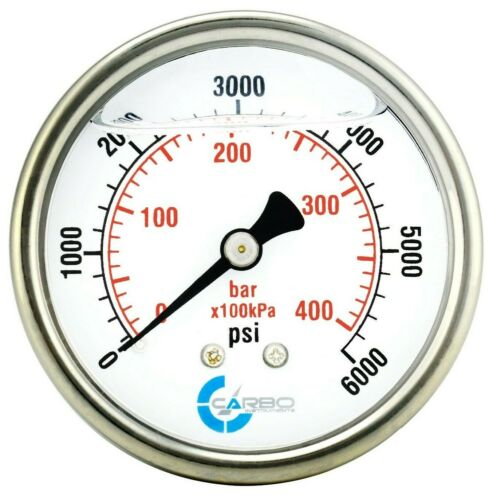 "2-1/2"" Pressure Gauge, ALL STAINLESS STEEL, Liquid Filled, Back Mnt, 6000 Psi"