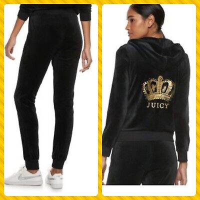 New Women's Juicy Couture Tracksuit Black Large Velour Hoodie Pants 2pc Gym Set ()
