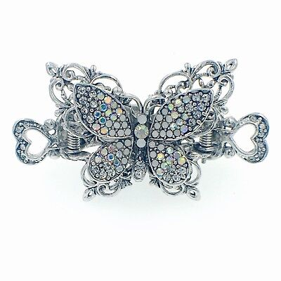 VINTAGE BUTTERFLY HAIR CLAW CLIP HAIRPIN USE SWAROVSKI CRYSTAL ELEGANT  SILVER