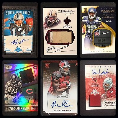 Football Card Hit Lot Jersey Relic Patch Autograph Brady Beckham Cooks Evans 1 1