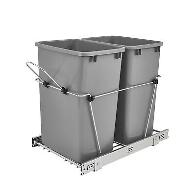 Rev A Shelf Double 35 Quart Sliding Pull Out Waste Bin Container (Open Box)