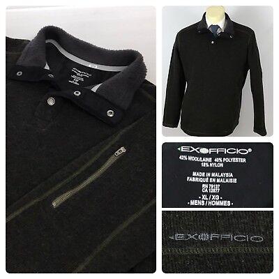 Ex Officio Wool Vest - EXOFFICIO Mens XL Wool Blend Brown 1/4 Snap Pullover Fleece Jacket