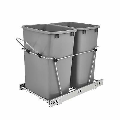 Bin - Double 35 Quart Sliding Pull Out Kitchen Cabinet Waste Bin Container, Gray