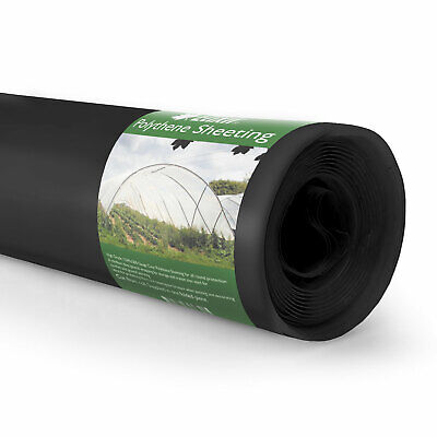 1m x 100m Black Polythene Sheeting Garden Cover 500g 125mu