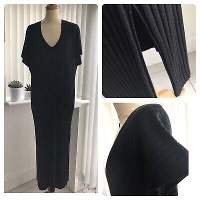 M&S Collection Stylish Rib Knitted Midi Dress V Neck Side Vents Black...