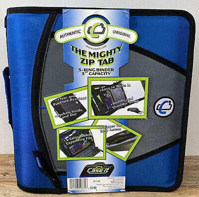 Case It Mighty Zip Tab 3 Inch Capacity Ring Zipper Binder Blue D-146 New