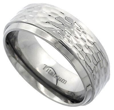 - Titanium Ring Men Women Wedding Band Hammered Flat Beveled Edge Comfort Fit 8mm