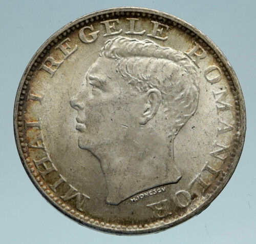 1944 ROMANIA Michael I Antique Genuine OLD Silver 500 LEI Romanian Coin i82997