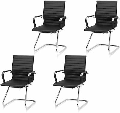 Office Guest Leather Reception Chair With Sled Base Conference Desk Waiting Room
