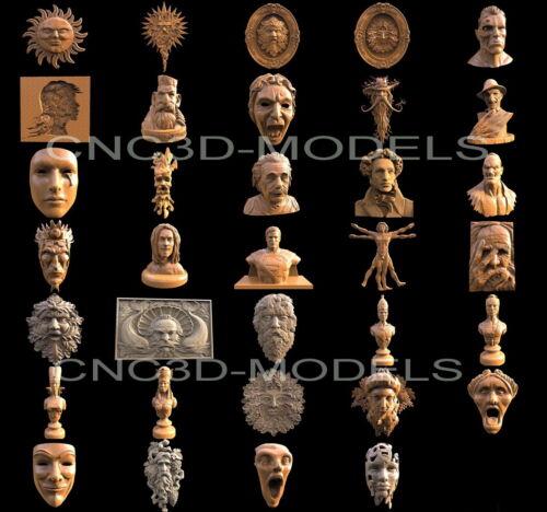 3D STL Models for CNC Router Carving Artcam Aspire Collection Man Head Decor H17