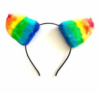 RAINBOW HEADBAND FAUX FUR EARS Animal Pony Cat Ears Pride LGBT Fancy Dress UK
