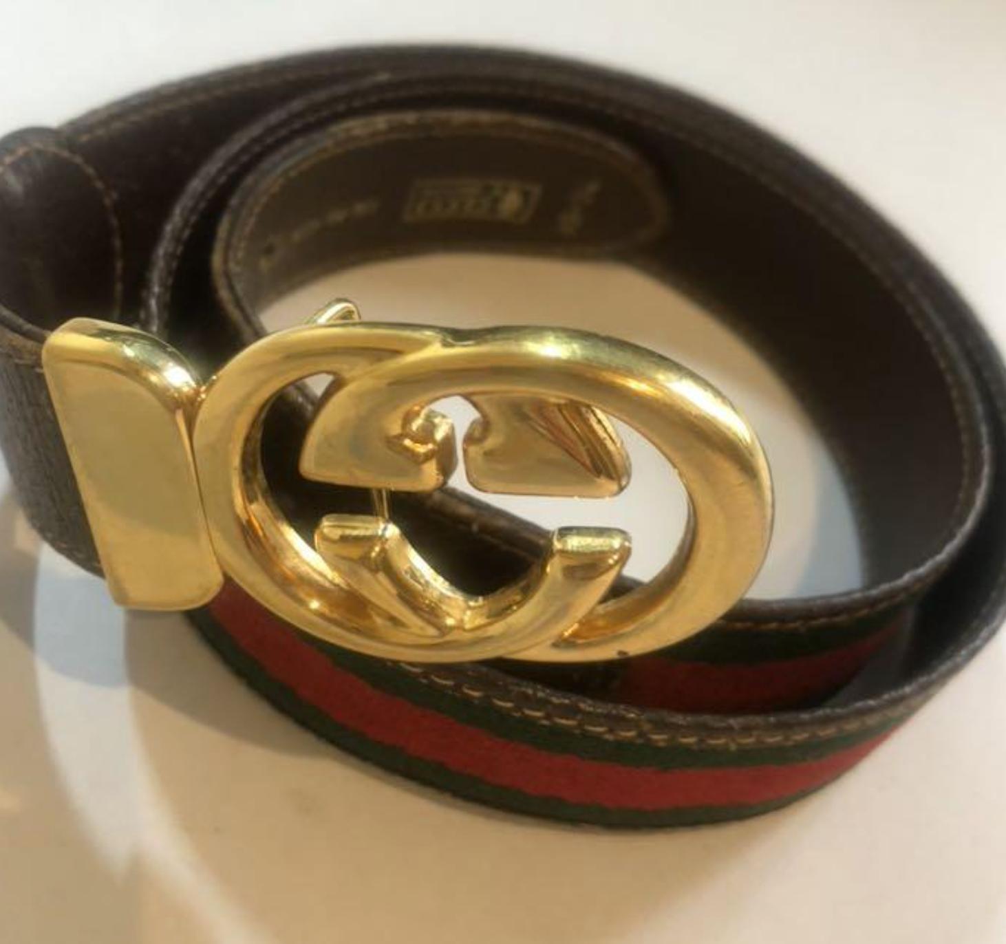 Authentique vieux gucci vintage toile gg emboîtement ceinture cuir 85/34 rare f