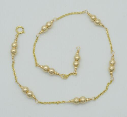 New Exquisite 14K Solid Gold 4mm Gold Beaded Anklet bracelet 9- 10