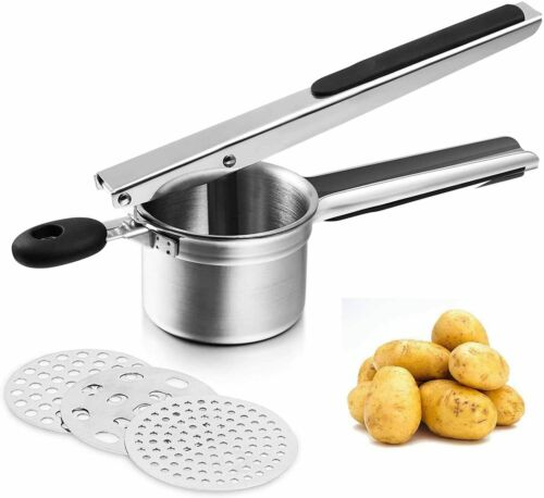 Potato Ricer Manual Masher with Stainless Steel Kitchen Tool 3 Discs for Cooking