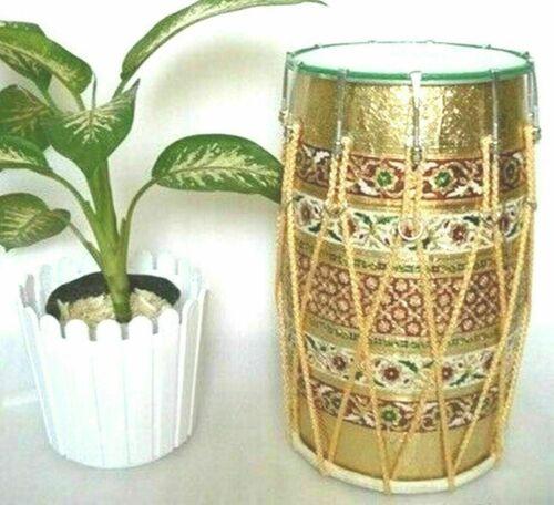 MeenaKari Work Mango Wood Folk Musical Instrument Punjabi Bhangra Dhol With Bag