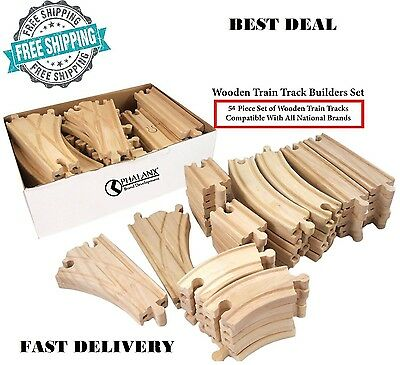 56 Piece Wooden Train Track Builders Set Of Wooden Tracks Compatible Thomas Brio - Thomas Train Tracks