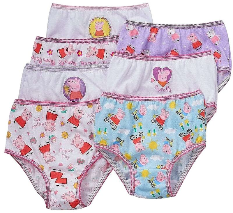 Peppa Pig Little Girls Panties 7 PAIR of Underwear Briefs Size 2T-3T, 4T