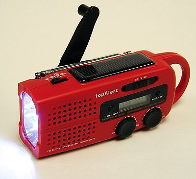 Emergency Solar Hand Crank Weather Alert Radio Compact Light Survival Kit Red