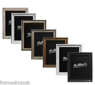 Shabby Chic Framed Chalkboard In Black White Gold Silver Gunmetal Wood