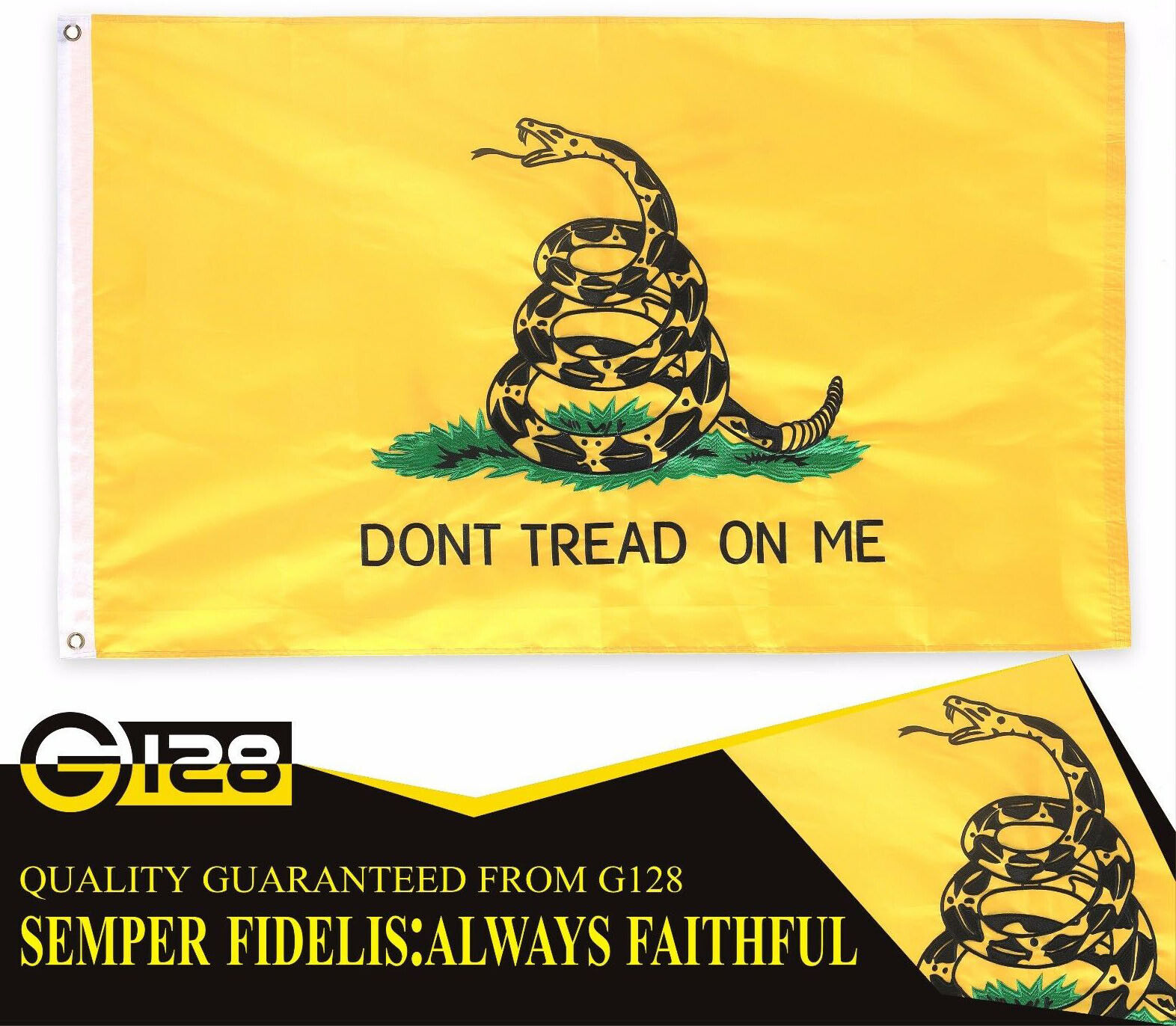 3'x5' ft, Gadsden Don't Tread on Me Flag US USA | DOUBLE SID