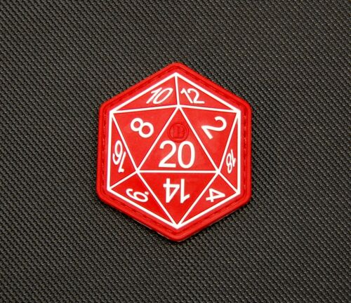 Dungeons And Dragons Die D20 3D PVC Morale Patch Hook Backing D&D Hook Fastener