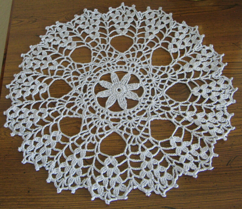 """New Hand Crocheted Doily 11"""" round Bridal Blue Handmade in US"""