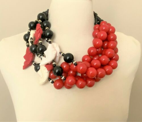 Fabulous Couture Red Acrylic Beads & Fishes Statement Multi Strand Necklace