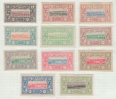 SOMALI COAST 1894-1902 MINT H SC #6-14, 16-17 IMPERFORATES CAT $300