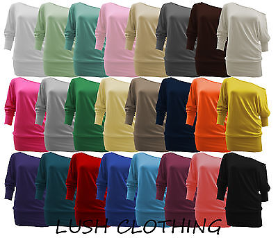 WOMENS ONE OFF SHOULDER BATWING LONG SLEEVE SLOUCHY T-SHIRT TOP-UK SIZES 8-22