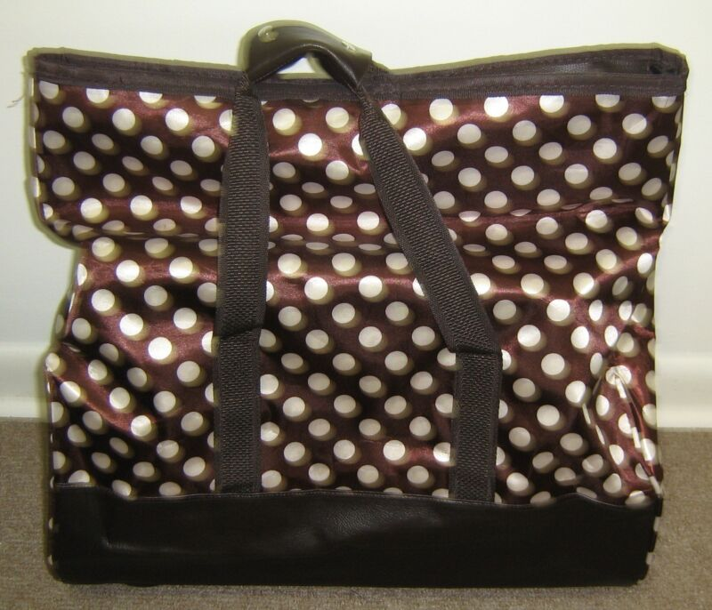 Womens Lianmengda Brown White Polka Dot Rolling Travel Shopping Tote Bag