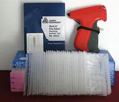 10312 Avery Dennison Fine Fabric Tagging Gun 5000 2 Clear Barbs 100 Price Tag