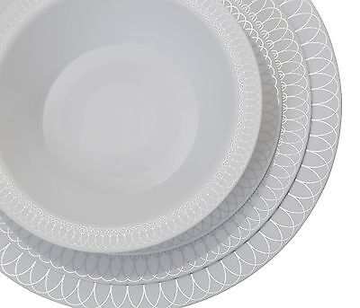 Premium Reflective Plastic Wedding Plates - Bulk Pack - Ovals Design -Free Ship