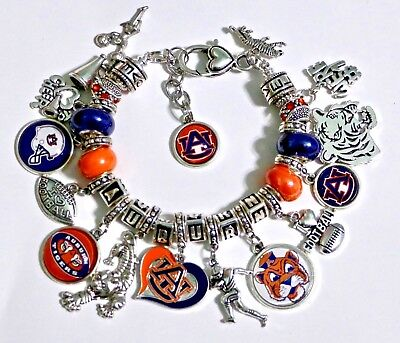 "AUBURN UNIVERSITY TIGERS HANDMADE NCAA FOOTBALL CHARM BRACELET 8"" ADJUSTABLE*"