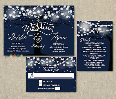 100 Personalized Rustic Tree String Lights Navy Wedding Invitations Suite - Tree Wedding Invitations