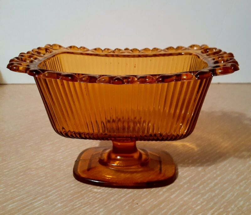 Vintage Amber Glass Open Lace Ribbed Footed Candy Dish FTDA 1981